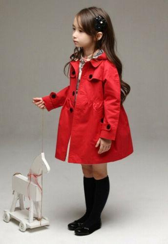 USA Girl Long Trench Rain Jacket Clothing