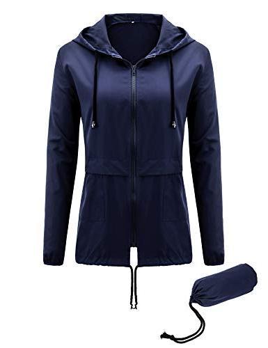 Uniboutique Womens Hooded Rain Jacket Lightweight Packable R