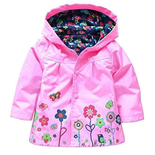 Wennikids Baby Girl Kid Waterproof Floral Hooded Coat Jacket