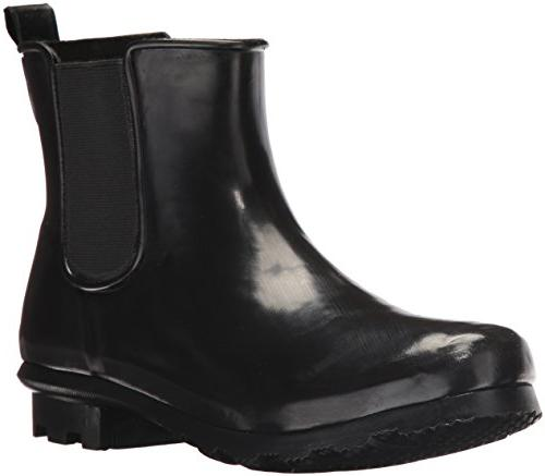 Western Chief Women's Ankle Bootie Rain Boot, Black, 8 M US