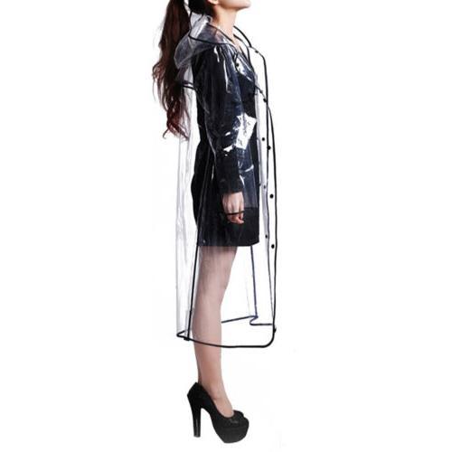 Women Hoodie Clear Rainwear PVC Rain
