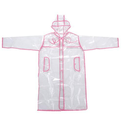 Women Girls Men Hoodie PVC Raincoat