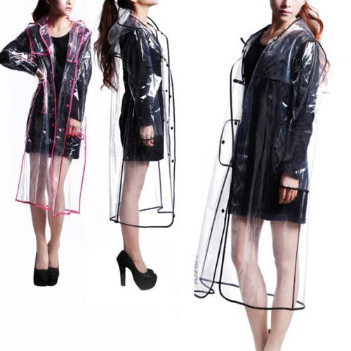 women girls men transparent hoodie clear rainwear