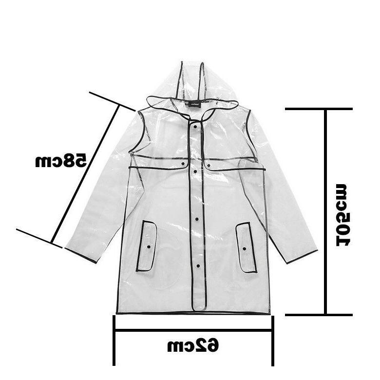 Women Transparent Raincoat Windproof Jacket Outdoor z
