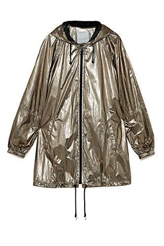 Women Metallic Long Sleeve Zipper Hooded Lightweight Waterpr