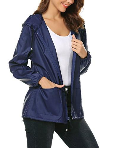 LOMON Raincoats Lightweight Rain Outdoor Windbreaker Jacket Navy L