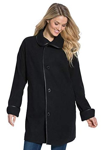 Women's Plus Size Faux Leather Trim Wool Coat