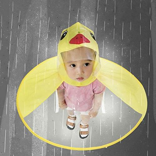 Xindda Baby Magical Hands-Free Raincoats, Cartoon Umbrella Hat Novelty Packable Cloak
