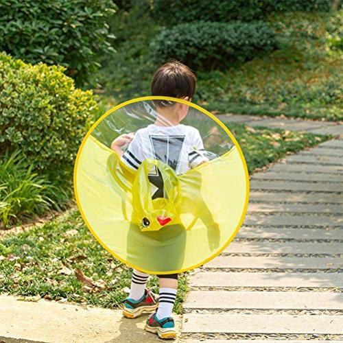 Xindda Kids Hands-Free Raincoats, Cartoon Umbrella Hat Duck Novelty Packable Hooded Poncho Cloak
