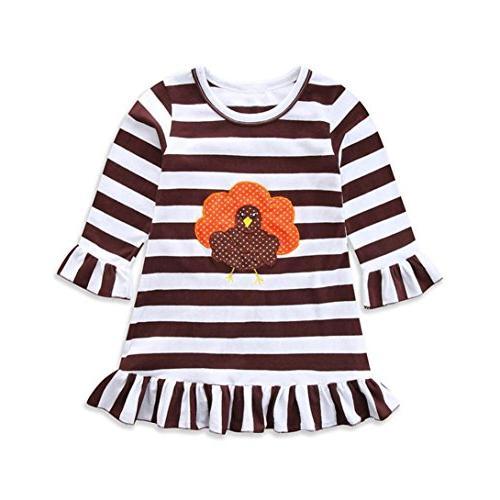 YJM Happy Thanksgiving Toddler Baby Girl Turkey Print Dress