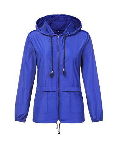 ZHENWEI Women's Waterproof Raincoat Outdoor Rain Jacket L