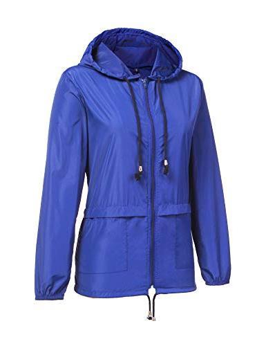 ZHENWEI Raincoat Outdoor Hooded Rain Jacket Packable Lightweight Windbreaker Blue L