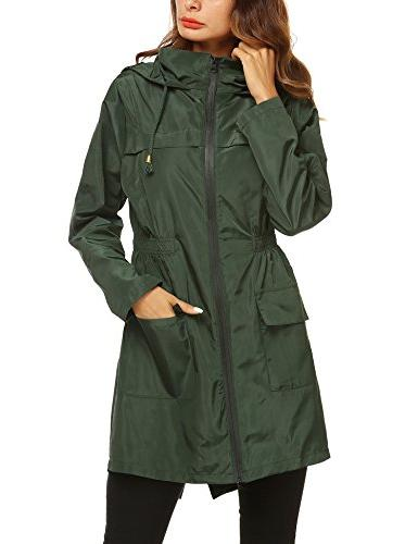 ZHENWEI Womens' Trench Raincoat,Hooded Hiking Windbreaker