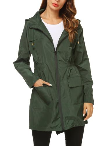 ZHENWEI Womens' Waterproof Lightweight Trench Raincoat,Hoode