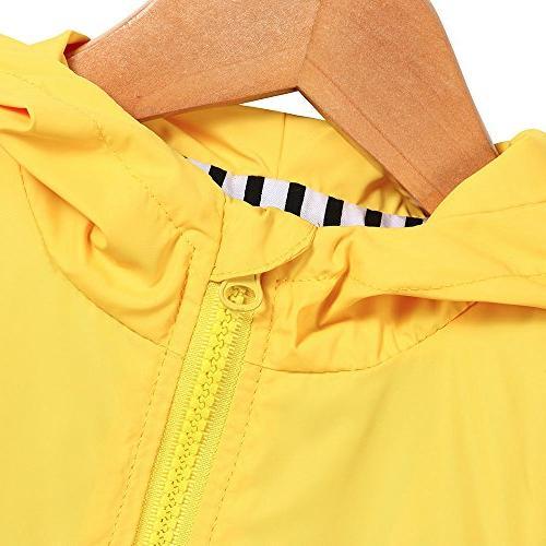 Birdfly Unisex Kids Animal Raincoat Cute Cartoon Hooded Zip Up Outwear Baby Winter Clothes