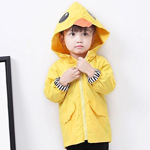 Birdfly Unisex Kids Raincoat Cute Jacket Hooded Zip Coat Clothes