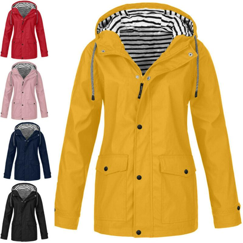 Women's Rain Outdoor Plus Size Waterproof Hooded Raincoat Wi
