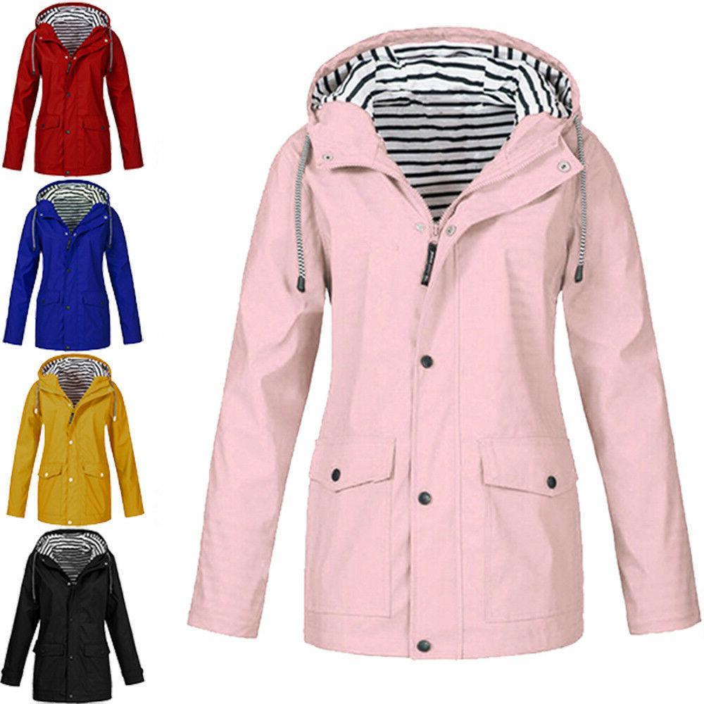 Winter Solid Rain Jacket Hooded Raincoat Windproof