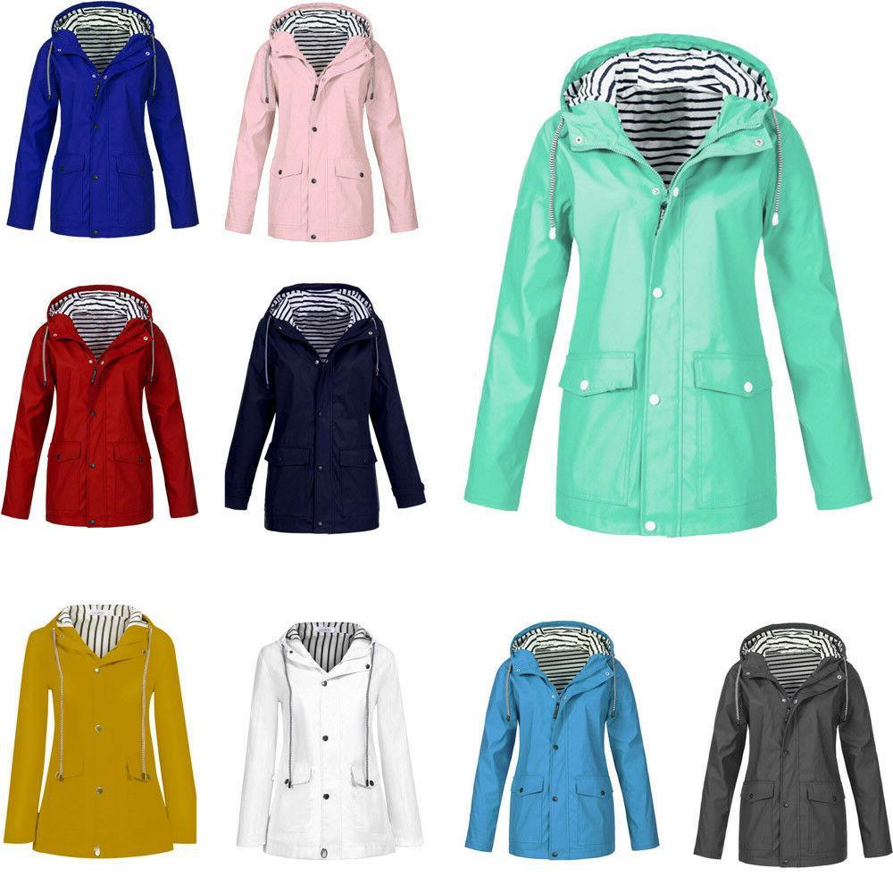 autumn women solid rain jacket outdoor plus
