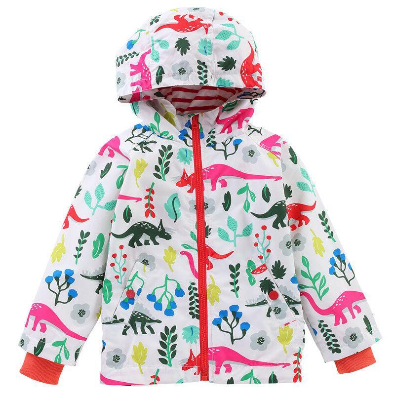 Baby Girls Kids Hooded Raincoat Jacket Wear Windproof 2-8 Y