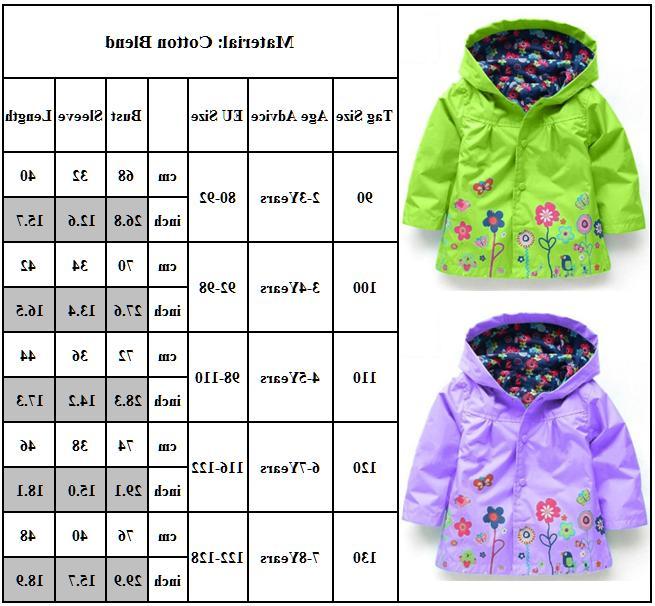 Baby Girls Raincoat Wear Outerwear 2-8 Y