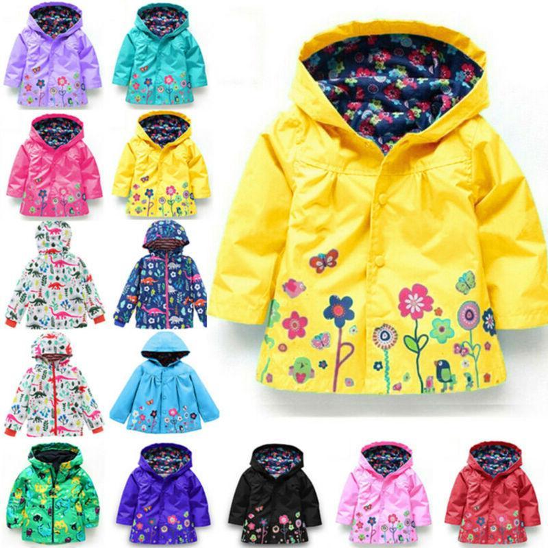 baby girls kids hooded raincoat coat jackets