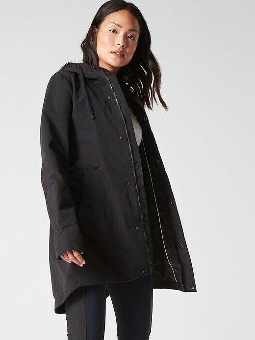 Athleta Black Forecast Rain Shell Coat Jacket Petite Small N