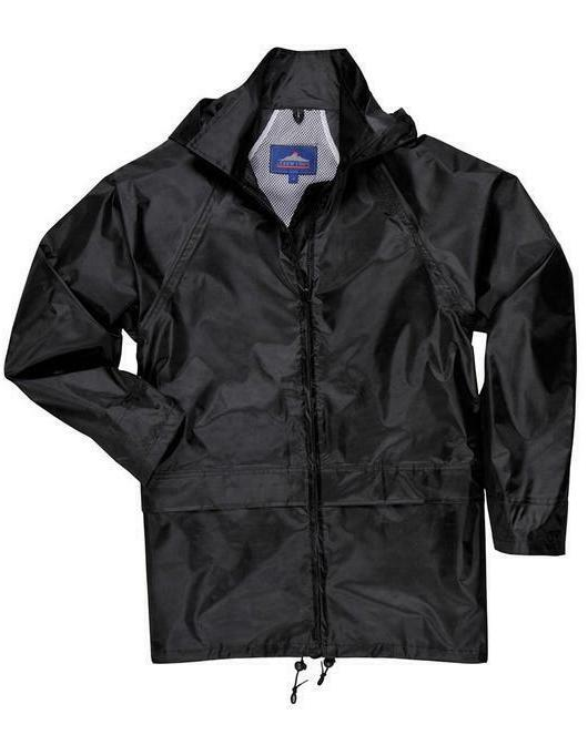 black rain coat with attached free shipping