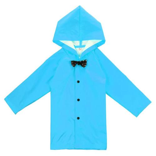 US Stock Blue Children Kid Hooded Raincoat Rain Coat Rainwea