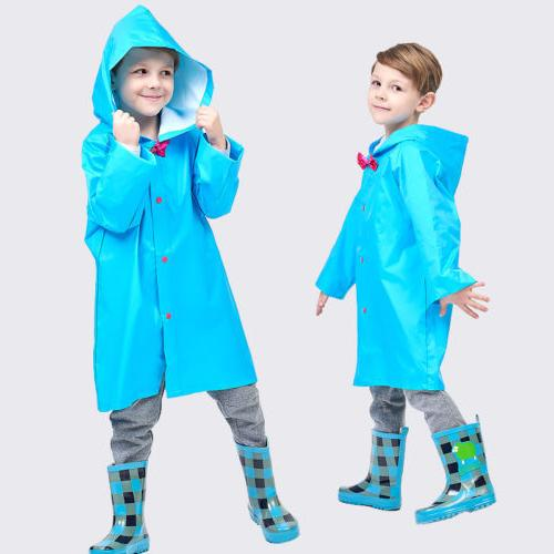 US Stock Kid Hooded Raincoat Coat Jacket