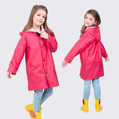 Rose Red Girl Hooded Rain Rainwear Jacket Poncho