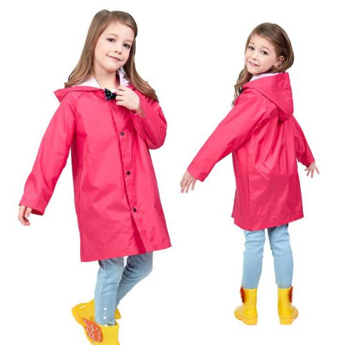 Rose Red Children Boys Girl Kid Hooded Raincoat Rain Coat Ra