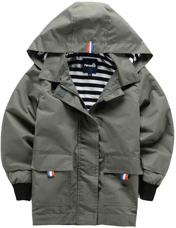 Hiheart Boys Girls Waterproof Hooded Jackets Cotton Lined Ra