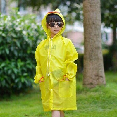 Children Kid Raincoat Coat Suit Poncho Hooded Jacket