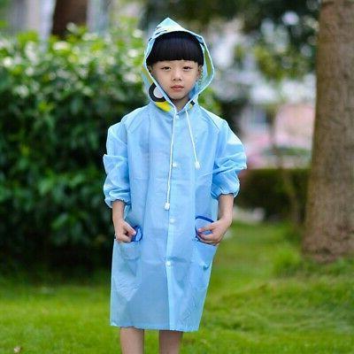 Kids Raincoat Waterproof Rainwear Rainsuit Poncho Hooded Cap