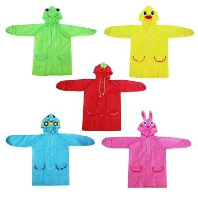 Children Raincoat Rain Suit Poncho Hooded Jacket