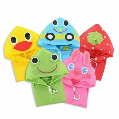 Children Boy Girl Raincoat Rain Suit Poncho Hooded Jacket