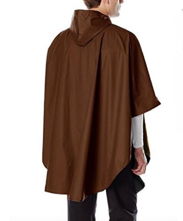 Rain Poncho Coat Brown Hood Waterproof Weather Protection