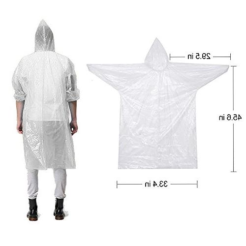 Opret Disposable Rain Emergency Raincoat Hood for Women and Pack of 5