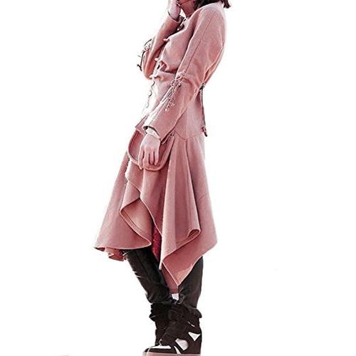 Bodycon4U Draped Long Leather Long Jacket Pink