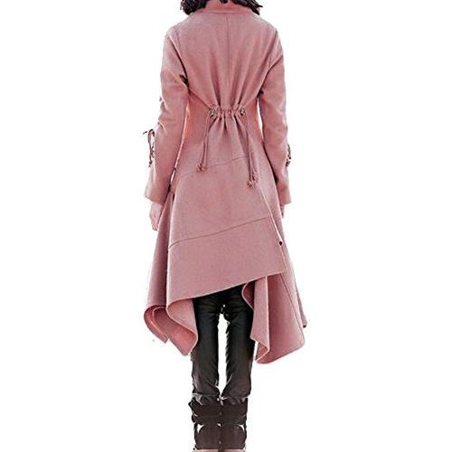 Bodycon4U Women's Draped Long Sleeve Leather Long Jacket S