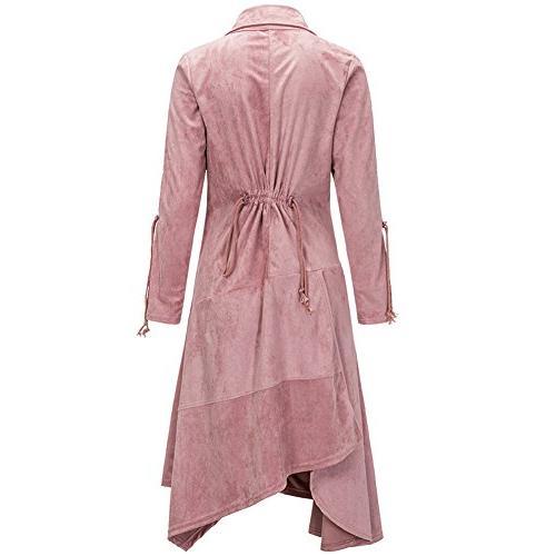 Bodycon4U Asymmetric Long Leather Jacket Pink S
