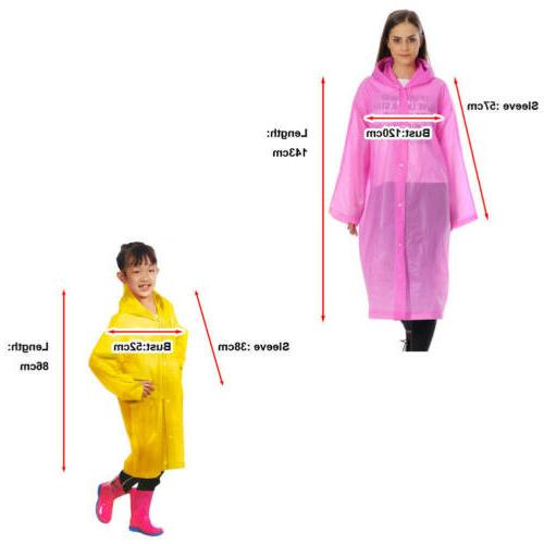 EVA Waterproof Jacket Clear Raincoat Rain Hooded Poncho Rainwear US