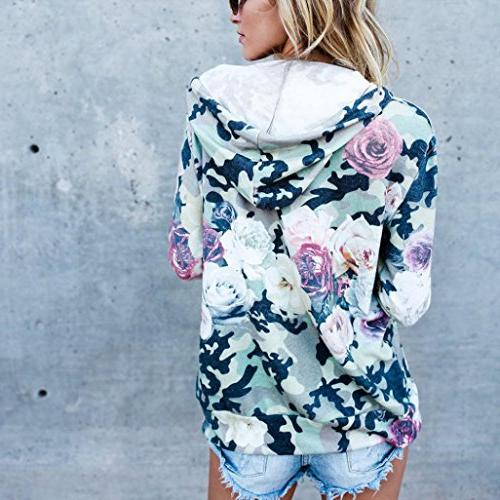FEITONG Floral Top Hooded