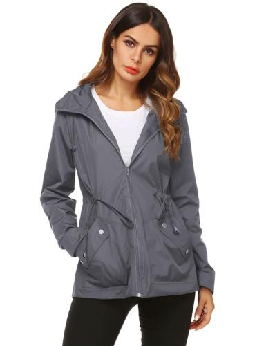 ZHENWEI Fold Rain Jacket Women Mid Nylon Rainproof Coat Gray