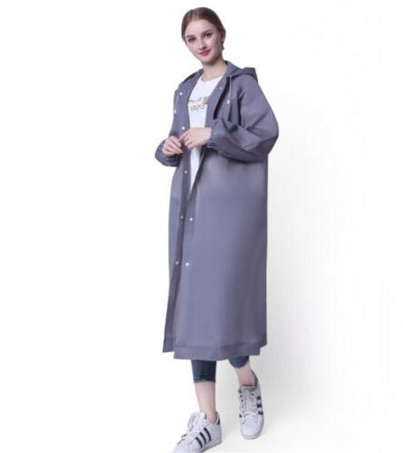 Gray Rain Coat Hooded Waterproof Jacket Poncho Rainwear
