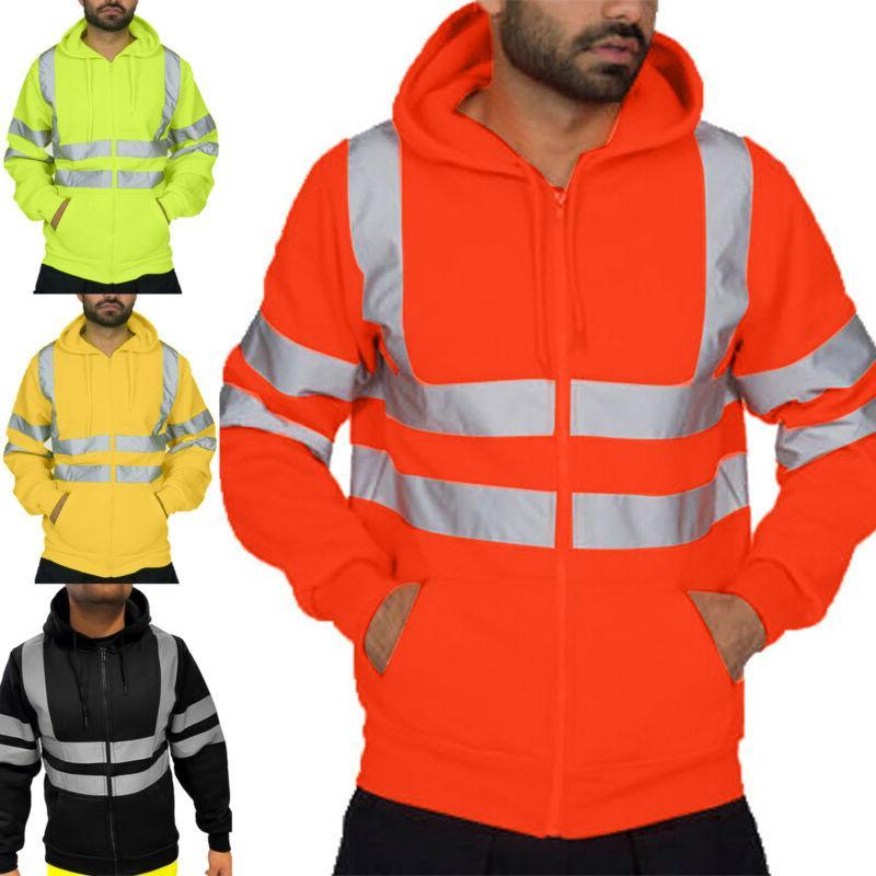 Hi Viz Men High Visibility Safety Coat Hooded Zipper Jacket