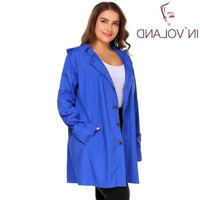 IN'VOLAND Large Women Rain Coat Jacket Spring Hoode
