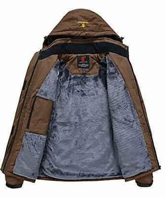 JINSHI Mens Mountain Waterproof Fleece Rain Jacket