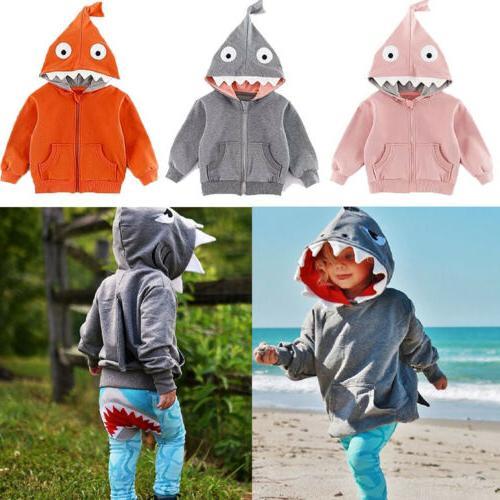 Kids Baby Boys Girl Shark Hooded Sweatshirt Coat Tops Jacket